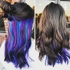 blue green layered under natural brown hair., Purple blue green layered under natural brown hair., Purple blue green layered under natural brown hair. Under Hair Color, Hidden Hair Color, Cool Hair Color, Hair Color And Cut, Blue Brown Hair, Natural Brown Hair, Blue Purple Hair, Blue Green, Color Blue