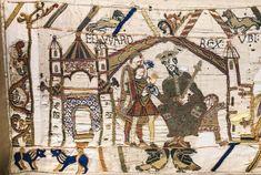 Tapisserie de Bayeux, première scène : dans son palais de Westminster, le roi Edouard ordonne à Harold de prévenir Guillaume de sa future accession au trône d'Angleterre.