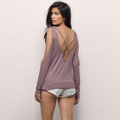strap backless backless woman tops v-neck long sleeve t shirts
