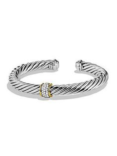 David Yurman Cable Classics Bracelet with Diamonds and Gold - No Color