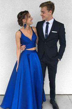 Royal Blue Two-Piece Long Prom Dresses,Satin Blue Formal Evening Dress – Okdresses Blue Graduation Dresses, Royal Blue Prom Dresses, V Neck Prom Dresses, Blue Evening Dresses, Tulle Prom Dress, Cheap Prom Dresses, Prom Party Dresses, Prom Gowns, Bridesmaid Dresses