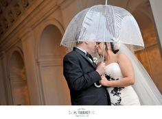 Clear umbrella for a rainy wedding day!