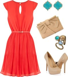 Coral pleated dress, neutrals, turquoise earrings. Love the color combo!