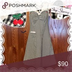 Vintage Rare Stop Staring Cherry Dress 1950s retro Where authentic vintage stop staring embroidered cherry dress. Cute black and white gingham checkered fabric with eyelet lace. This dress is vintage for even stop staring when they first came out size small excellent condition. Are used to wear this but it became too large for me. Stop Staring Dresses Midi