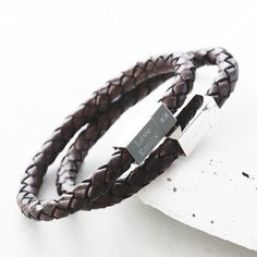 dad boy leather son bracelet personalised man for itm o box engraved etc gift