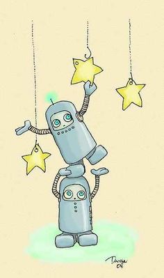 Robots Hanging Stars by Unknown | 50 Amazing Piece Of Robot Artwork (Part II)