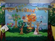 Wow check out this awesome Seasons display! Year 1 Classroom, Kindergarten Bulletin Boards, Eyfs Classroom, Classroom Ideas, Classroom Organisation, Organization, Class Displays, School Displays, Classroom Displays