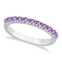 Amethyst+Stackable+Band+Ring+Guard+in+14k+White+Gold+by+Allurez,+$366.45