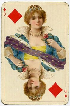 #PlayingCardsTop1000 - Dondorf Germany costume playing cards - Queen of diamonds