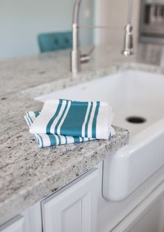 Set of 2 Aqua Kitchen Towels | You�ll love these towels for everything from drying hands (they are so soft!), cleaning up spills, and drying dishes. They look great by the kitchen sink as a decorative accent. The aqua Center Band Towel is stitched with