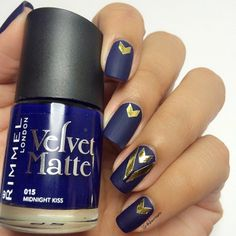 Matte Navy Blue Nails with Gold Accents
