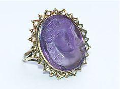 Antique amethyst cameo ring with diamond detail