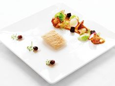 Oven- baked Halibut Albert and chanterelle mushrooms in diverse shapes and textures
