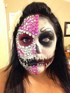 Sugar skull. Halloween half face makeup