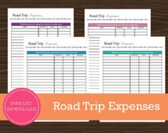 #RoadTrip Expense Tracking Sheet Road Trip Planner, Vacation Planner, Travel Planner, Weekly Planner, Budget Travel, Travel Tips, Travel Destinations, Printable Planner, Printables