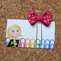 SHOCKING PINK DOT Bow Paper Clip  Bookmark  by TheBookNookPatch