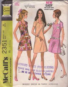 MOMSPatterns Vintage Sewing Patterns - McCall's 2351 Vintage 70's Sewing Pattern SASSY Mod Dart Fitted Scoop Neck Snap Pocket Summer Mini Dress 3 Styles