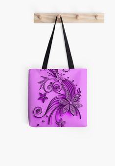 'Pink and purple, floral design' Tote Bag by cool-shirts Large Bags, Small Bags, Samsung Galaxy Cases, Iphone Cases, Cotton Tote Bags, Reusable Tote Bags, Medium Bags, Cool Shirts, Are You The One