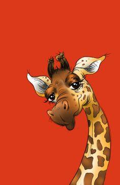 Red Giraffe - Art Print by Sam Bock on Giraffe Pictures, Animal Pictures, Cute Pictures, Giraffe Drawing, Giraffe Art, Cartoon Kunst, Cartoon Art, Animals And Pets, Baby Animals