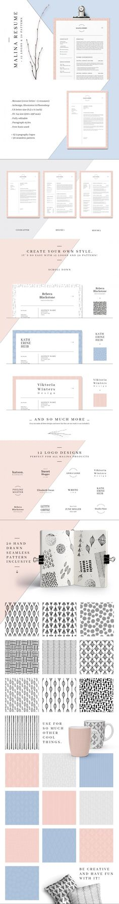 MALINA Resume – 3 Pages + Bonus #CvTemplate #CurriculumVitae #photoshop #rose #template #illustrator #resume #ResumeWriting #class #psd #3pages #minimal #cleanresume #stationery #resumeindesign #ResumeWriting #CvDesign #BestResumeFormat #msword Resume Design Template, Cv Template, Resume Templates, Stationery Printing, Stationery Design, Cv Design, Logo Design, Typography Logo, Lettering