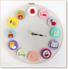 clock for kids ♥ http://felting.craftgossip.com/2014/07/30/diy-clock-for-kids/