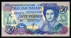 Falkland Islands banknotes Fifty Pounds banknote of 1990, Queen Elizabeth. Falkland Islands banknotes, Falkland Islands paper money, Falkland Islands bank notes, pictures of Falkland Islands currency, Falkland Islands money currency, Falkland Islands money image.  Obverse: Portrait of Queen Elizabeth II
