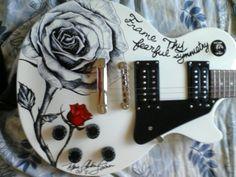 Guitar and Music Institute Guitar Diy, Cool Guitar, Acoustic Guitar, Painted Ukulele, Music Institute, Ukulele Art, Les Paul, Guitar Painting, Sharpie Art