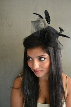 Classic black mini topper top hat fascinator by MFbyMegsie on Etsy, $30.00
