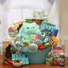 Carrot Patch Pete's Easter Gift Pail with Milk Chocolate Bunny, Easter Toy with Jelly Beans, Bubbles, Coloring Book, Fun Dough, Robins Eggs Malted Candies, and Much More