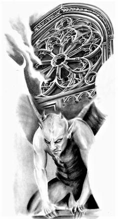 Gargoyle 1 - Famous Last Words Tatto Skull, Skull Sleeve Tattoos, Demon Tattoo, Skull Tattoo Design, Tattoo Design Drawings, Dark Tattoo, Skull Art, Tattoo Designs, Samurai Tattoo