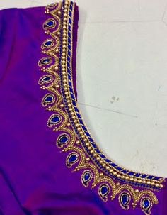 Choli Blouse Design, Silk Saree Blouse Designs, Bridal Blouse Designs, Bead Embroidery Patterns, Cutwork Embroidery, Embroidery Designs, Sugar Beads, Aari Work Blouse, French Knot Embroidery