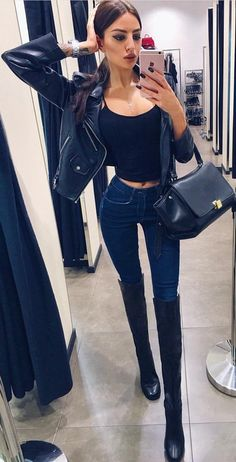 #thanksgiving #fashion ·  Black Bomber Jacket // Black Cropped Top // Skinny Jeans // Black Boots