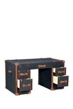 steamer trunk desk   I want to do something like this with my wooden file cabinets