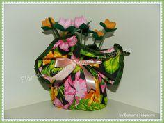 Flor de madeira: Peso de Porta Florido