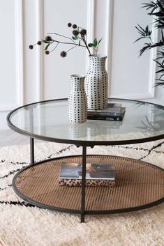 Metal, Rattan & Glass Coffee Table Round Glass Coffee Table, Wicker Coffee Table, Black Coffee Tables, Glass Side Tables, Glass Table, Side Table Styling, Coffee Table Styling, Cool Room Designs, Table Decor Living Room