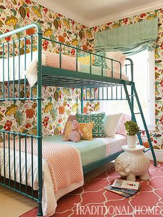 """Lively """"Regina Fiesta"""" wallpaper and bunk beds painted a fun turquoise just beg for a slumber party. - Traditional Home ® / Photo: Karyn R. Millet / Design: Taylor Borsari not a fan of the wall paper, but love everything else Bed For Girls Room, Little Girl Rooms, Girls Bedroom, Kids Room, Bedroom Ideas, Master Bedroom, Cozy Bedroom, Bedroom Wall, Bedroom Furniture"""