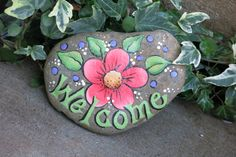 Painted Welcome garden rock decoration peach by MyPaintedSwan