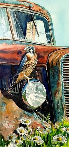 """Daily Paintworks - """"Kestrel Patina"""" - Original Fine Art for Sale - © Andy Sewell"""