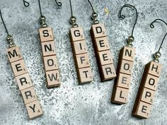 Christmas Scrabble Ornament with Mercury Glass Beads by Homeroad