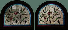 """Pr. Antique American Floral Stained and Jeweled Arched Top Windows, 32.5"""" x 29.5"""" ea. fid13014a&b"""