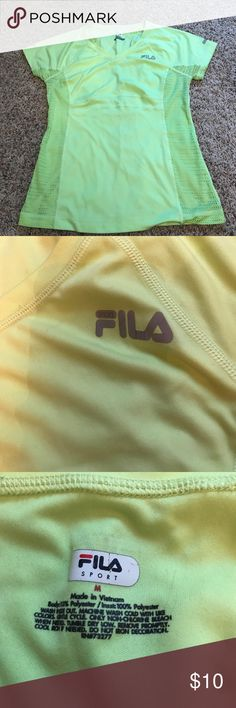 Fila Workout Top Fila Workout Top, Bright Yellow, excellent condition, no stains, snags or fading.  Smoke free home. Fila Tops Tees - Short Sleeve
