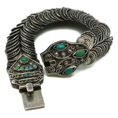 1950's Matl Matilde Poulat Mexican Turquoise Sterling Silver Serpent Bracelet Eagle Assay 129