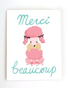 Cute fun cheeky modern French Poodle Merci Thank by beepboopbopllc, $3.25