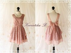 A Party - Cocktail Prom Party Dinner Wedding Bridesmaid Night Dress Pink Nude Color Backless Dress. $59.80, via Etsy.  might be cute in green lace