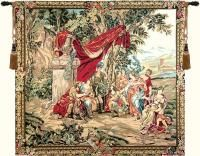 ^click photo to enlarge^  Apollo is a genuine Flanders Belgium jacquard wall tapestry. This scene depicts Apollo among the Muses, resting on Heiicon with representatives of literature and history. The original design was by Bernard van Orley, a Flemish Renaissance painter (1487 - 1541). This is one of six tapestries in the Triumph of Apollo series woven in the workshops of Leyniers in the 18th century. In ancient Greece, Apollo was the God of the arts, archery, and divination. His symbols…