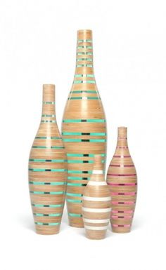 Recycled and reclaimed materials used in modern vases.  By Sarah Thirlwell.