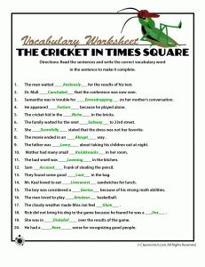 Free printable worksheets and Answer Key for  The Cricket in Times Square