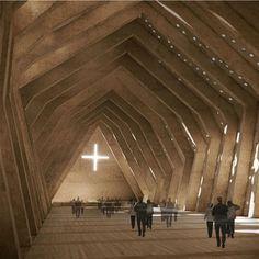 Vaillo Irigaray Arquitectos nos propone una iglesia en forma triangular capaz de generar el espacio de tensión interior adecuado a la vez que responde al significado representativo del templo como expresión del misterio de la santísima trinidad.