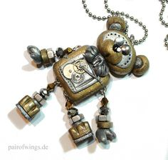 pairofwings Schmuckdesign MyBot Roboter Zahnrad Steampunk Perle Fimo Teddybär