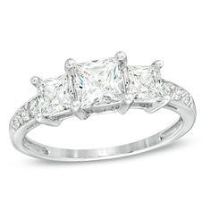 Princess-Cut Lab-Created White Sapphire Three Stone Ring in 10K White Gold